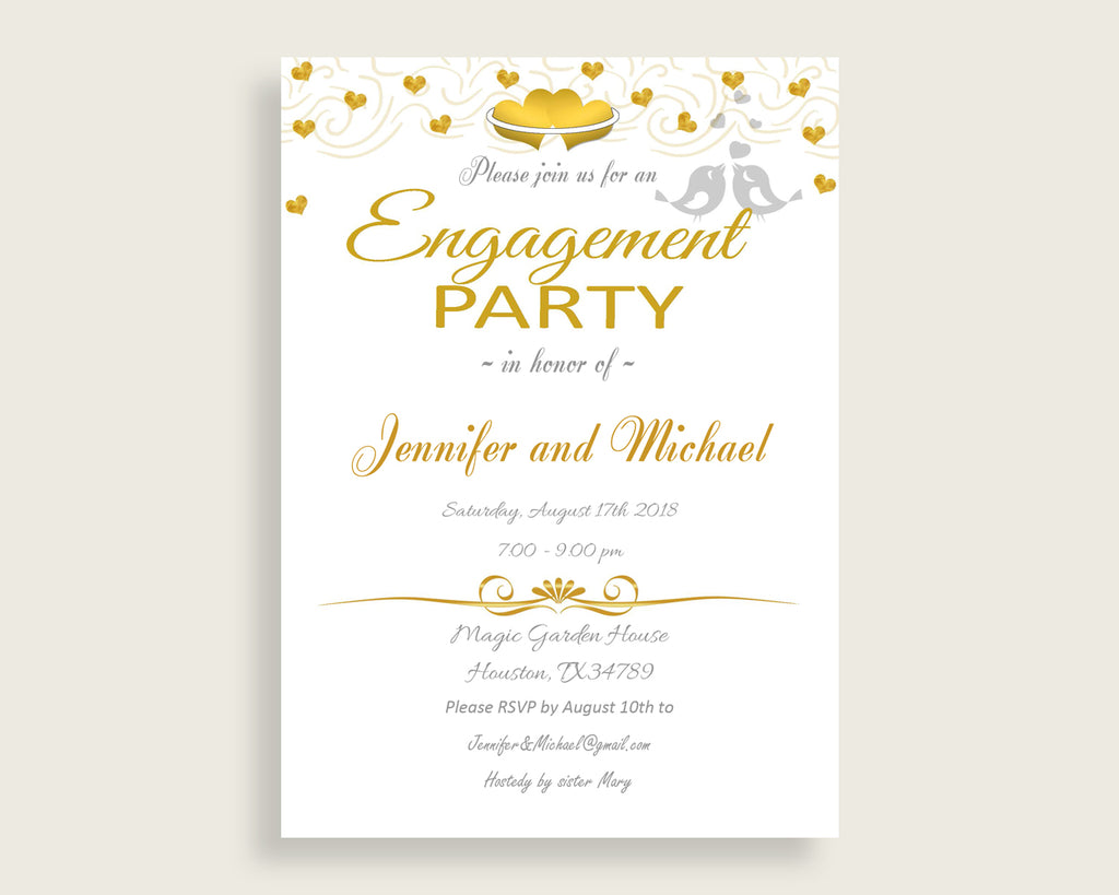 Engagement Party Invitation Bridal Shower Engagement Party Invitation Gold Hearts Bridal Shower Engagement Party Invitation Bridal 6GQOT