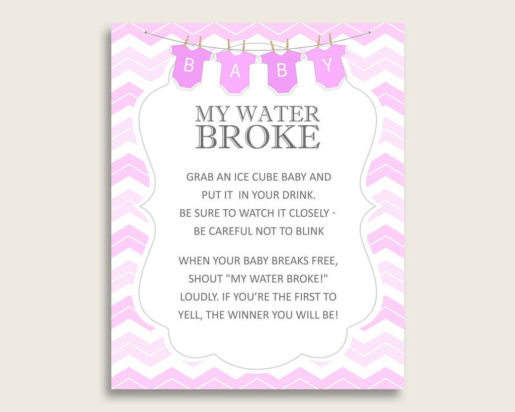 Chevron Baby Shower My Water Broke Game Printable, Pink White Ice Cube Babies Game, Girl Baby Shower Frozen Babies Game Sign 8x10 cp001