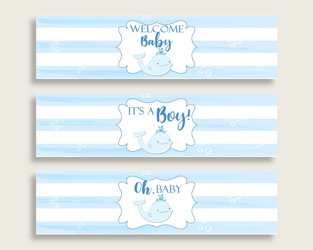 Blue White Water Bottle Labels Printable, Whale Water Bottle Wraps, Whale Baby Shower Boy Bottle Wrappers, Instant Download, wbl01