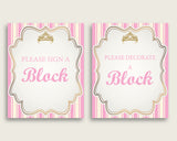 Pink Gold Please Sign A Block Sign and Decoarate A Block Sign Printables, Royal Princess Girl Baby Shower Decor, Instant Download, rp002