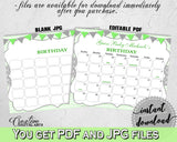 Baby Shower BIRTHDAY PREDICTION due date calendar editable with chevron green theme printable, instant download - cgr01