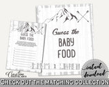 Baby Food Guessing Baby Shower Baby Food Guessing Adventure Mountain Baby Shower Baby Food Guessing Gray White Baby Shower Adventure S67CJ - Digital Product