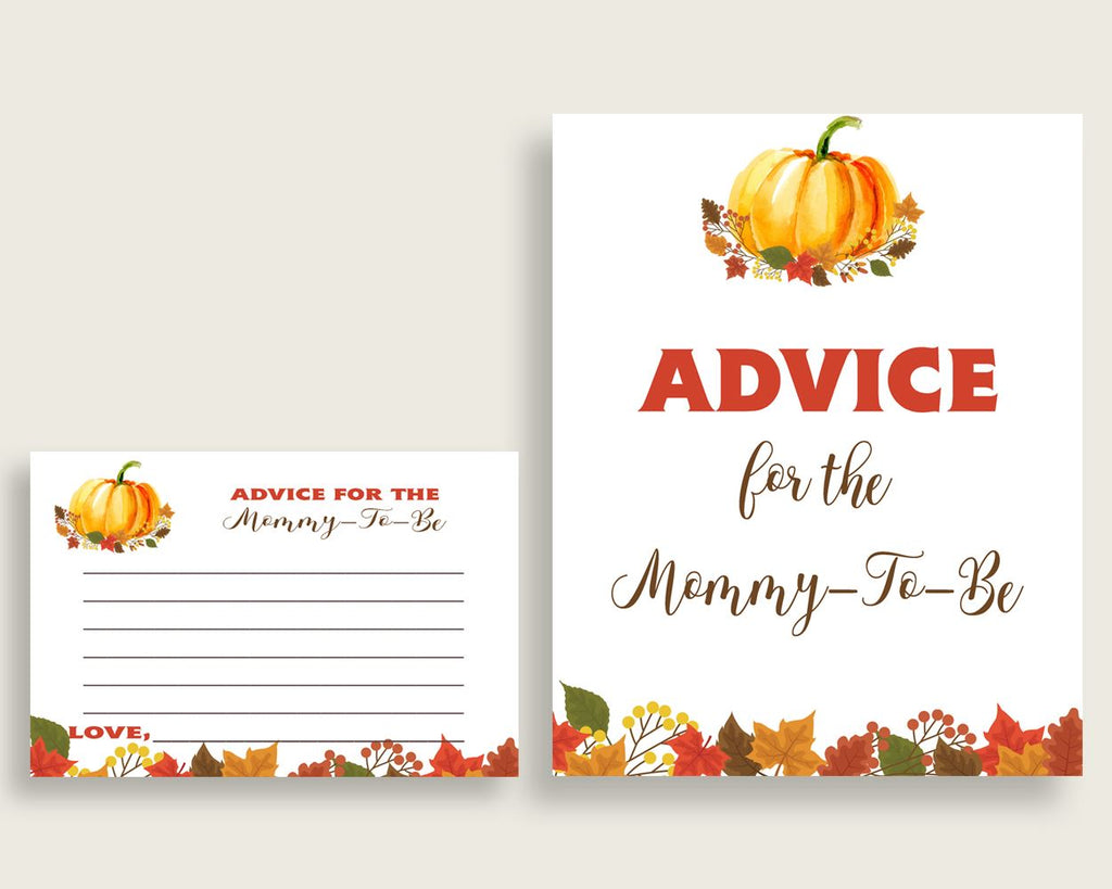 Advice Cards Baby Shower Advice Cards Fall Baby Shower Advice Cards Baby Shower Pumpkin Advice Cards Orange Brown prints printables BPK3D - Digital Product