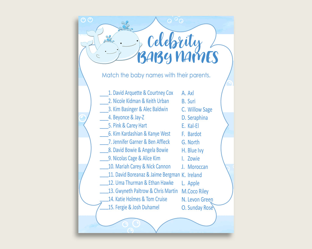 Blue White Celebrity Baby Names, Whale Baby Shower Boy Name Game Printable, Celebrity Match Game, Famous Babies Game, Celebrity wbl01
