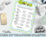 WHAT'S IN YOUR PURSE baby shower game with green alligator and blue color theme, instant download - ap002