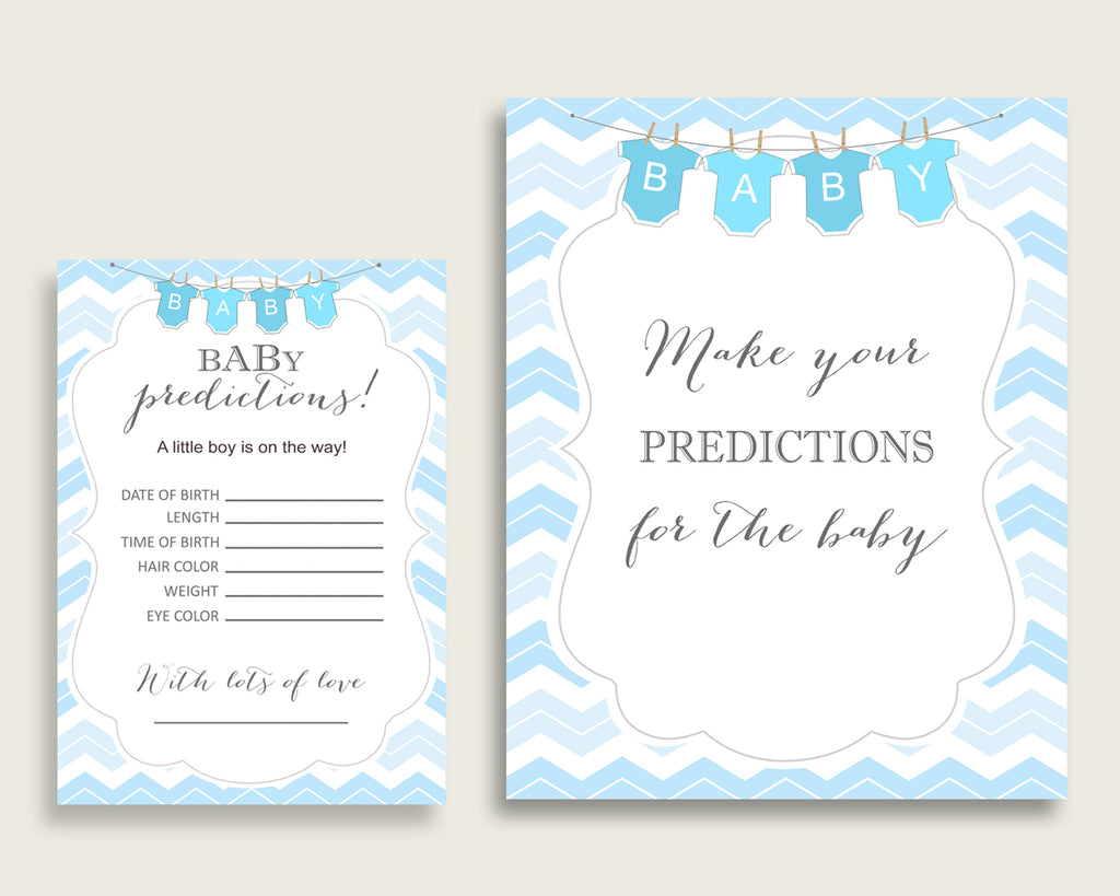 Chevron Baby Shower Prediction Cards & Sign Printable, Blue White Baby Prediction Game Boy, Instant Download, Popular Zig Zag Theme cbl01