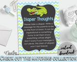 Baby shower DIAPER THOUGHTS game with green alligator and blue color theme, instant download - ap002