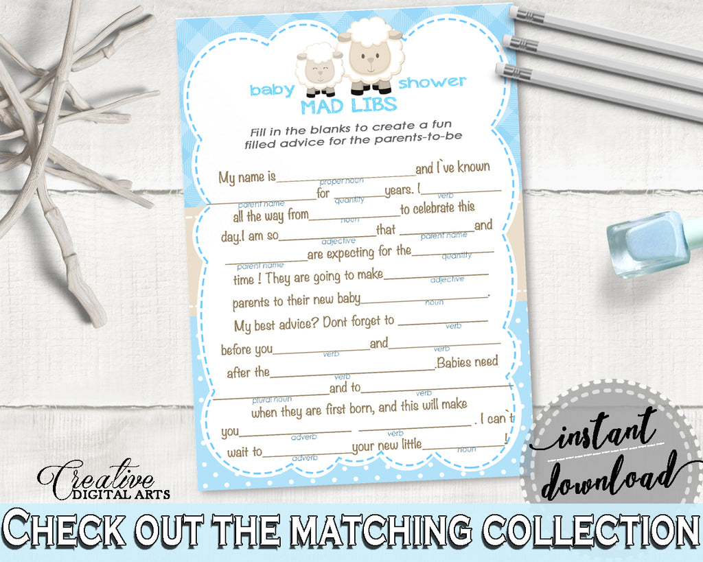 Little Lamb Boy Baby Shower MAD LIBS game printable, blue baby shower game sheep, digital files Jpg Pdf, instant download - fa001
