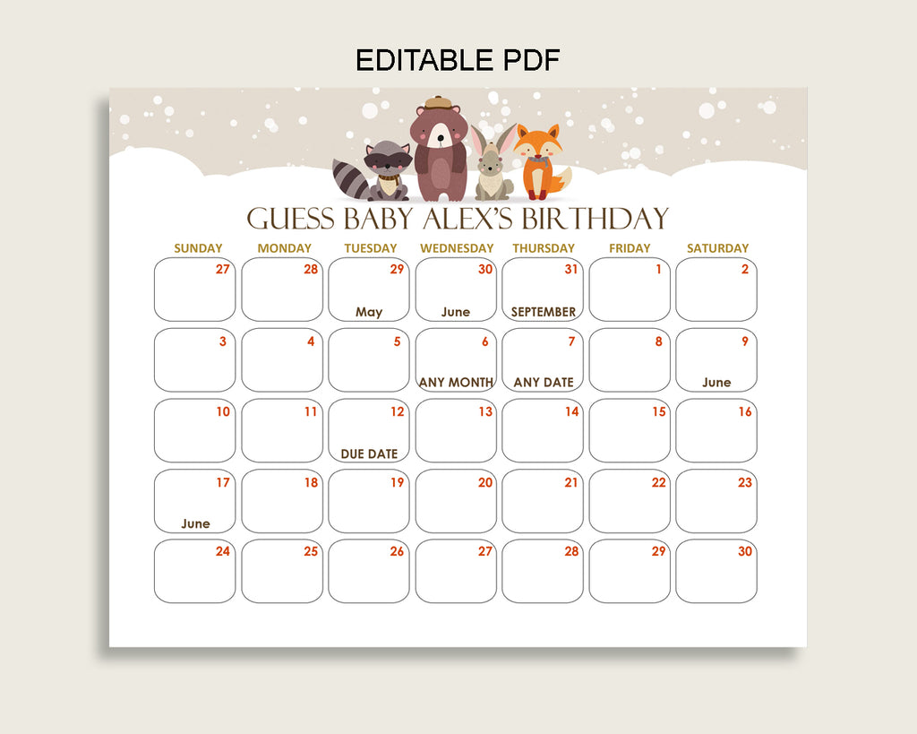 Beige Brown Guess Baby Due Date Calendar Game Printable, Winter Woodland Baby Shower Gender Neutral Birthday Prediction Calendar RM4SN