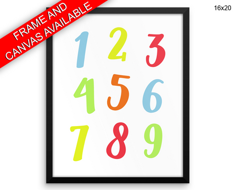 Numbers Digits Print, Beautiful Wall Art with Frame and Canvas options available Nursery Decor