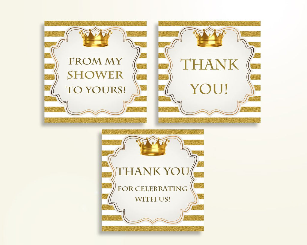 Thank You Tags Baby Shower Thank You Tags Royal Baby Shower Thank You Tags Gold White Baby Shower Gold Thank You Tags party ideas Y9MQF - Digital Product