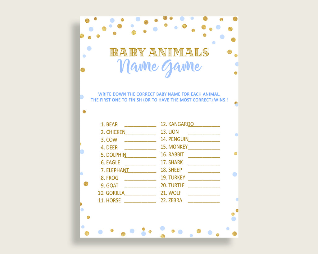 Baby Animal Names Baby Shower Baby Animal Names Confetti Baby Shower Baby Animal Names Blue Gold Baby Shower Confetti Baby Animal cb001