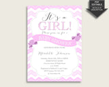 Chevron Baby Shower Invitations Printable, Digital Or Printed Invitation Baby Shower Girl, Editable Invitation Pink White Popular cp001