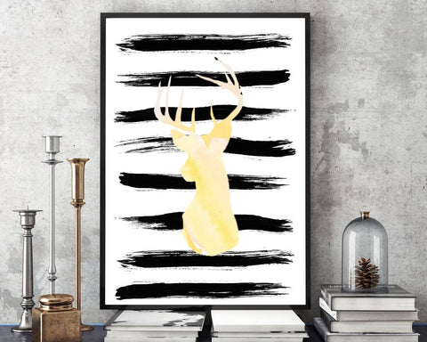 Wall Decor Watercolor Printable Deer Prints Watercolor Sign Deer Living Room Art Deer Living Room Print Watercolor Printable Art Watercolor - Digital Download