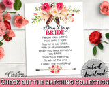 Bohemian Flowers Bridal Shower Don't Say Bride in Pink And Red, don't say a word, floral boho, prints, digital print, party supplies - 06D7T - Digital Product
