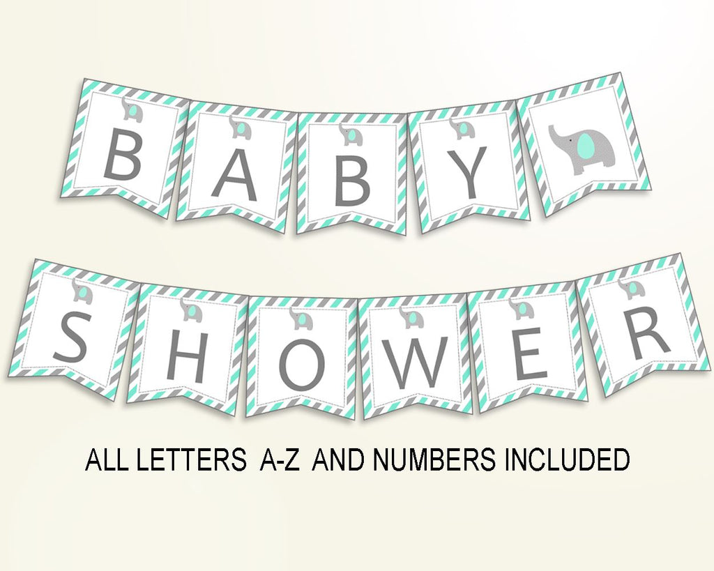 Banner Baby Shower Banner Turquoise Baby Shower Banner Baby Shower Elephant Banner Green Gray party planning paper supplies prints 5DMNH - Digital Product