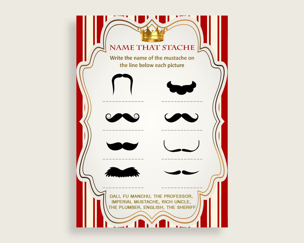 Name That Stache Baby Shower Name That Stache Prince Baby Shower Name That Stache Red Gold Baby Shower Prince Name That Stache Crown 92EDX