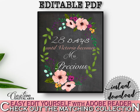 Days Until Becomes in Chalkboard Flowers Bridal Shower Black And Pink Theme, countdown bridal, chalk bridal shower, paper supplies - RBZRX - Digital Product