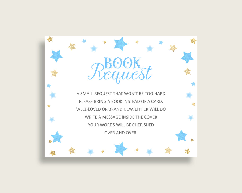 Stars Baby Shower Bring A Book Insert Printable, Boy Blue Gold Book Request, Stars Books For Baby, Book Instead Of Card, Most Popular bsr01