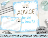 Sheep Advice For Mommy To Be and Advice For The New Parents lamb baby shower boy blue theme printable, Jpg Pdf, instant download - fa001