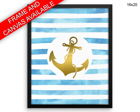 Gold Anchor Print, Beautiful Wall Art with Frame and Canvas options available Home Decor