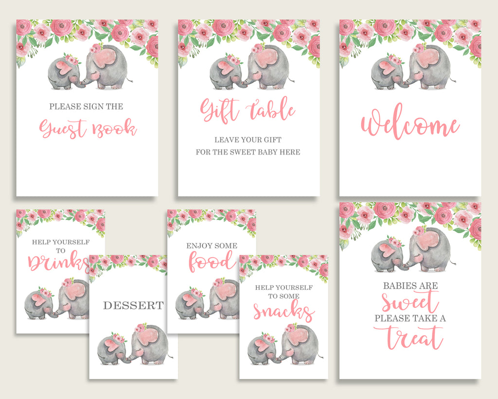 Pink Elephant Baby Shower Girl Table Signs Printable, Pink Grey Party Table Decor, Favors, Food, Drink, Treat, Guest Book, Instant ep001