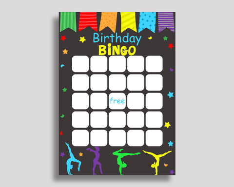 Birthday Game Gymnastics Gift Bingo Gymnastics Birthday Bingo Rainbow Black Party Activity Girl QKROL