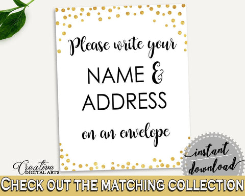 Addressing Sign Bridal Shower Addressing Sign Confetti Bridal Shower Addressing Sign Bridal Shower Confetti Addressing Sign Gold White CZXE5 - Digital Product