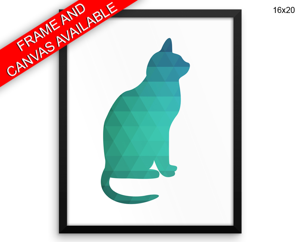 Geometric Cat Print, Beautiful Wall Art with Frame and Canvas options available Living Room Decor