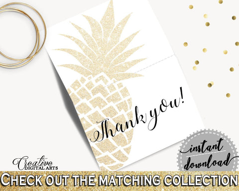 Thank You Card Bridal Shower Thank You Card Pineapple Bridal Shower Thank You Card Bridal Shower Pineapple Thank You Card Gold White 86GZU - Digital Product