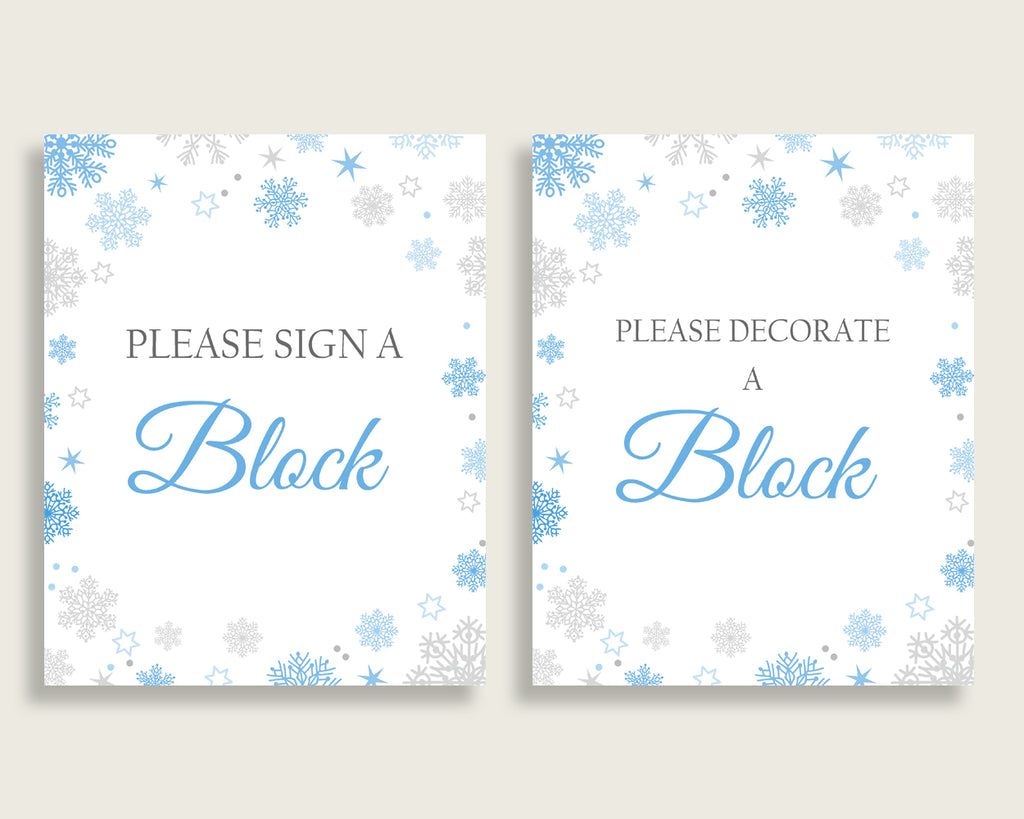 Sign A Block Baby Shower Decorate A Block Snowflake Baby Shower Sign A Block Blue Gray Baby Shower Snowflake Decorate A Block prints NL77H