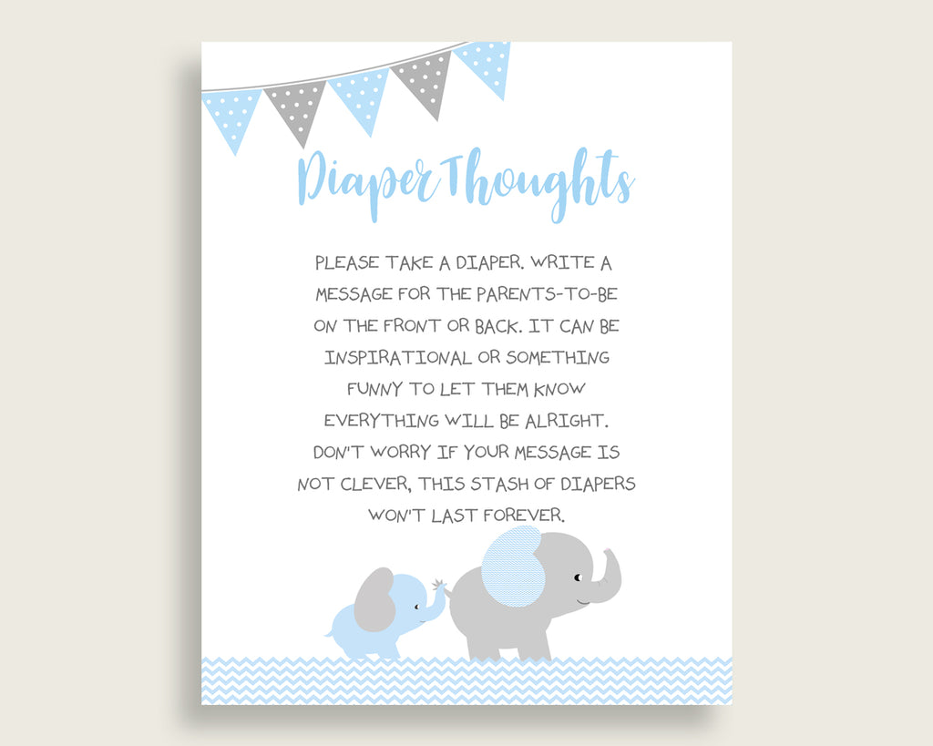 Elephant Baby Shower Diaper Thoughts Printable, Boy Blue Grey Late Night Diaper Sign, Words For Wee Hours, Write On Diaper Message ebl02