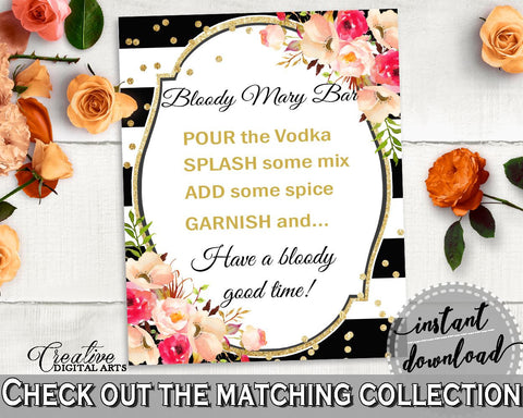 Black And Gold Flower Bouquet Black Stripes Bridal Shower Theme: Bloody Mary Bar Sign - cocktail bar sign, party decor, party plan - QMK20 - Digital Product