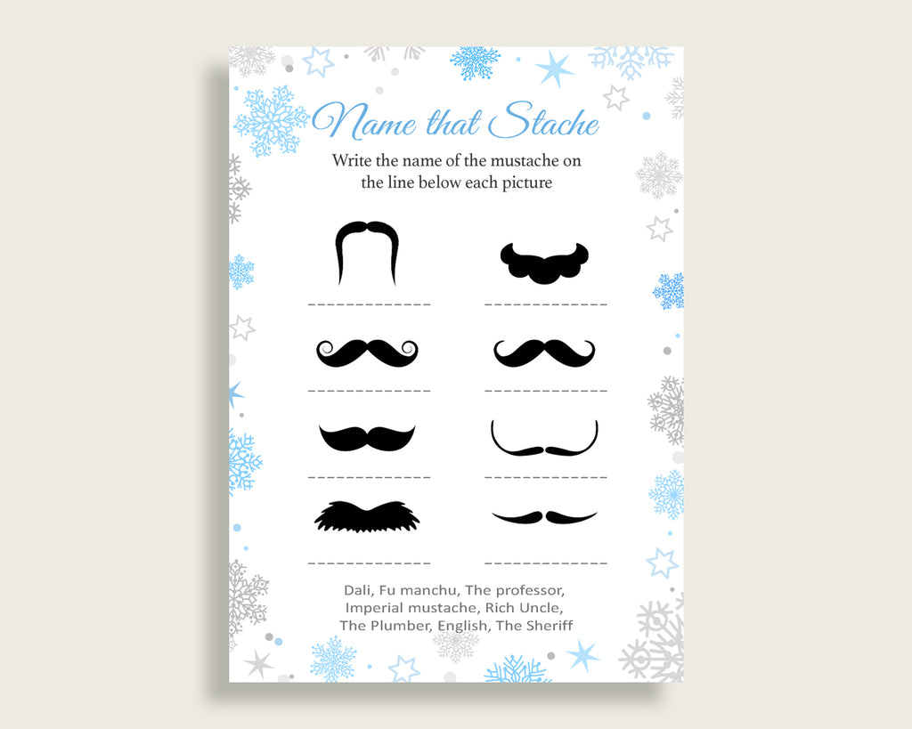 Name That Stache Baby Shower Name That Stache Snowflake Baby Shower Name That Stache Blue Gray Baby Shower Snowflake Name That Stache NL77H