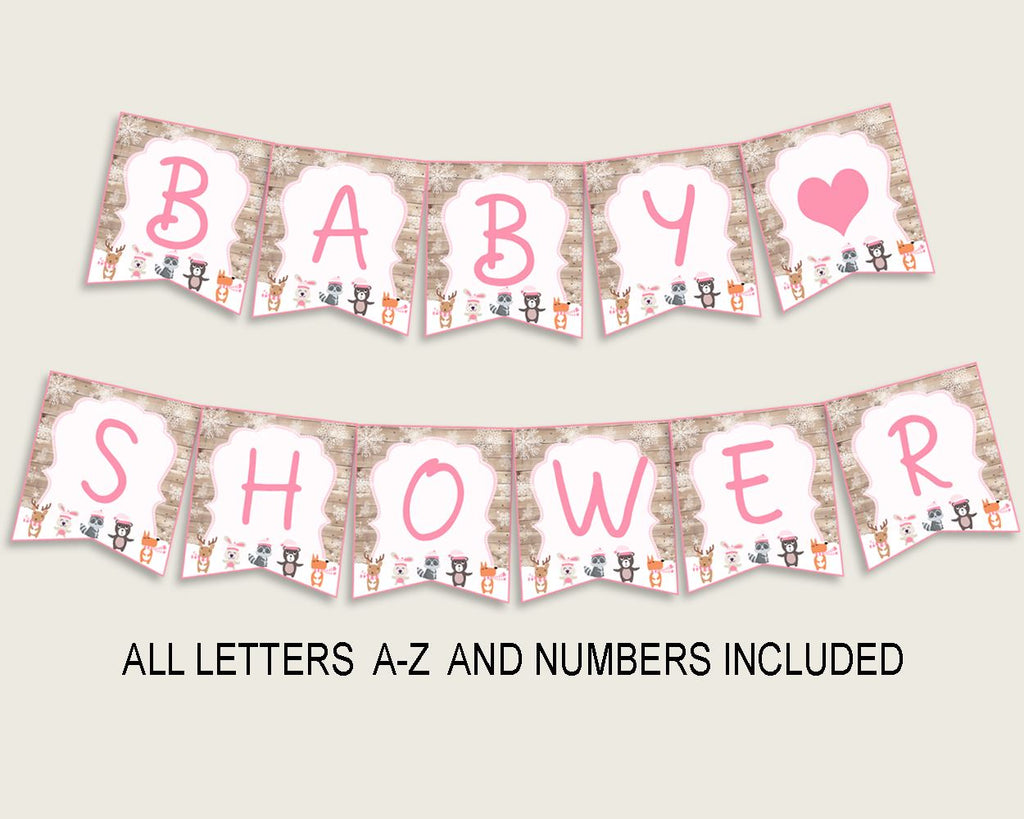 Banner Baby Shower Banner Forest Girl Baby Shower Banner Baby Shower Forest Girl Banner Pink White shower celebration prints OBJUF - Digital Product