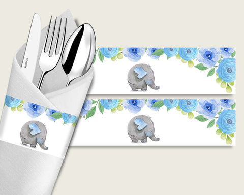 Elephant Blue Baby Shower Napkin Rings Printable, Blue Gray Napkin Wrappers, Boy Shower Utensils Wrap, Instant Download, Mammoth ebl01