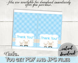 Little Lamb Blue THANK YOU card, baby shower boy blue theme printable, sheep thank you, digital files, jpg pdf, instant download - fa001
