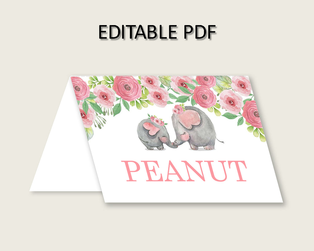 Pink Elephant Folded Food Tent Cards Printable, Pink Grey Editable Pdf Buffet Labels, Girl Baby Shower Food Place Cards, Instant ep001