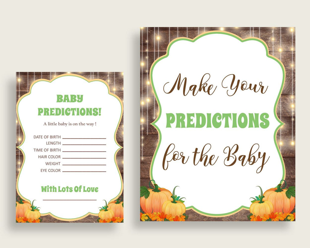 Baby Predictions Baby Shower Baby Predictions Autumn Baby Shower Baby Predictions Baby Shower Autumn Baby Predictions Brown Orange 0QDR3 - Digital Product
