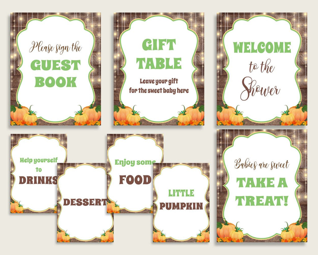 Table Signs Baby Shower Table Signs Autumn Baby Shower Table Signs Baby Shower Autumn Table Signs Brown Orange digital download 0QDR3 - Digital Product