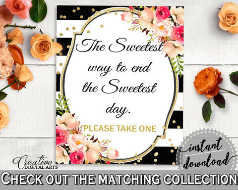 Black And Gold Flower Bouquet Black Stripes Bridal Shower Theme: The Sweetest Way To End The Sweets Day - table sign, party plan - QMK20 - Digital Product