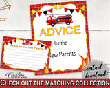 Advice Cards Baby Shower Advice Cards Fireman Baby Shower Advice Cards Red Yellow Baby Shower Fireman Advice Cards - LUWX6 - Digital Product
