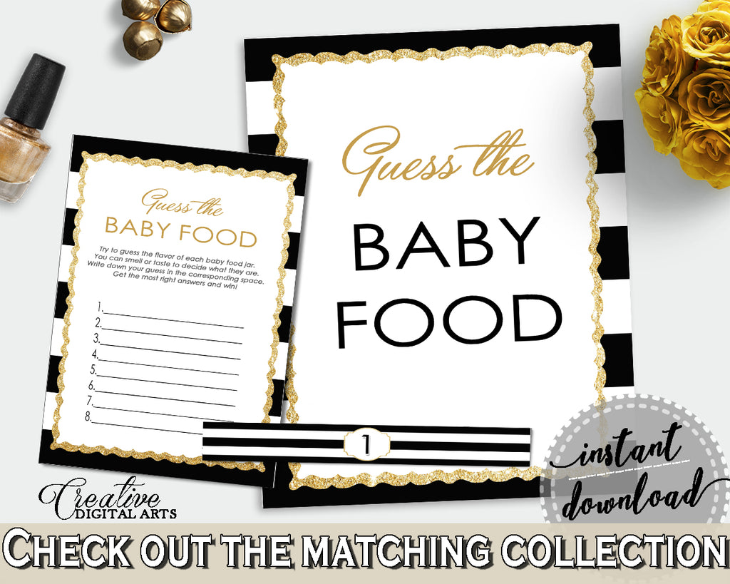 GUESS The BABY FOOD game for baby shower with black stripes color theme printable glitter title, digital, Jpg Pdf, instant download - bs001