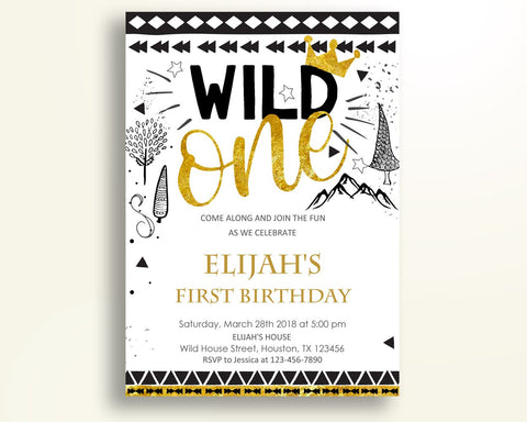 Wild One Birthday Invitation Wild One Birthday Party Invitation Wild One Birthday Party Wild One Invitation Boy wild one for boy 3W97V - Digital Product