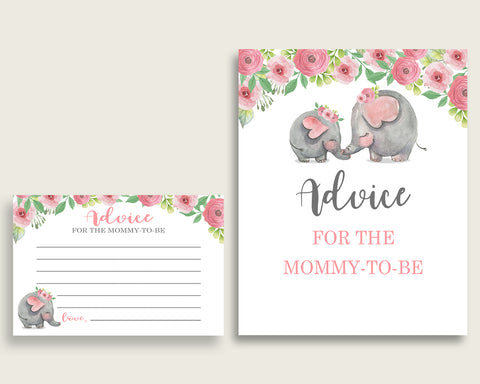 Advice Cards Baby Shower Advice Cards Pink Elephant Baby Shower Advice Cards Baby Shower Pink Elephant Advice Cards Pink Grey baby ep001