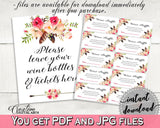Bohemian Flowers Bridal Shower Wine Raffle in Pink And Red, wine instead card, premium bridal, party planning, party stuff, prints - 06D7T - Digital Product