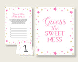 Twinkle Star Guessing Game Baby Shower Girl, Pink Gold Guess The Sweet Mess Game Printable, Dirty Diaper Game, Instant Download, bsg01