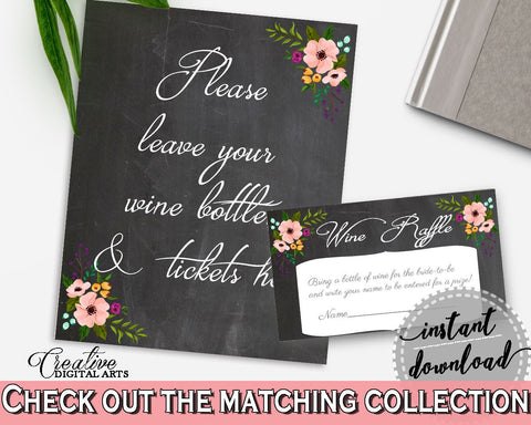 Black And Pink Chalkboard Flowers Bridal Shower Theme: Wine Raffle - sign and card, blackboard bridal, bridal shower idea, prints - RBZRX - Digital Product