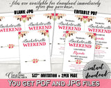 Bachelorette Weekend Invitation Editable in Bohemian Flowers Bridal Shower Pink And Red Theme, gathering, party plan, party stuff - 06D7T - Digital Product