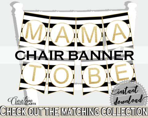 Baby shower CHAIR BANNER decoration printable with black white color stripes theme, digital files, glitter gold, instant download - bs001